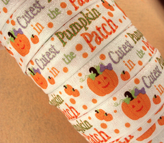 1 Yard -  1 inch ELASTIC  - Cutest Pumpkin in the Patch on White