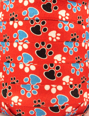 1 Yard -  5/8 inch - PAWS on Red   - Fold Over Elastic FOE