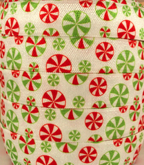 1 Yard -  5/8 inch - Christmas Candy Mints   - Fold Over Elastic FOE
