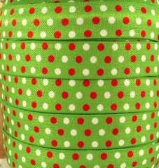 1 Yard -  5/8 inch - CHRISTMAS DOTS RED AND WHITE ON GREEN - Fold Over Elastic FOE