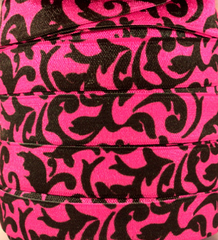 1 Yard -  5/8 inch - BLACK DAMASK ON HOT PINK - Fold Over Elastic FOE