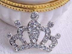 1 Piece  - 33mm x 23mm - Rhinestone Princess Crown  - High Quality - Metal - Crystal - Flat Back Flatback