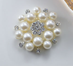 1 Piece  - 33mm- Pearl and  Rhinestone Pin Brooch  - High Quality - Metal - Crystal