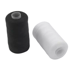 SET OF TWO SEWING THREADS 1 WHITE & 1 BLACK - 100% POLYESTER - Strong and Resistant 500 meters = 547 yards
