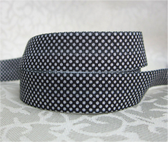 1 Yard -  5/8 inch - TINY WHITE DOTS ON BLACK   - Fold Over Elastic FOE