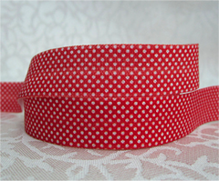 1 Yard -  5/8 inch - TINY WHITE DOTS ON RED   - Fold Over Elastic FOE