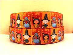 1 Yard 1 inch CUTE PILGRIMS - THANKSGIVING   -  Printed Grosgrain Ribbon