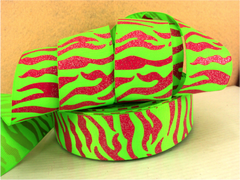 1 Yard 1.5 inch GLITTER HOT PINK TIGER STRIPES ON LIME GREEN - ANIMAL PRINT - ( THICK ) -  Printed Grosgrain Ribbon