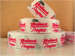 1 Yard 1 inch Redneck Princess on White - Hot pink letters - Silver Accents -  Printed Grosgrain Ribbon