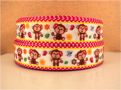 1 yard  1 inch MONKEY CUTIE ON HOT PINK POLKA DOT BORDER -  Printed Grosgrain Ribbon