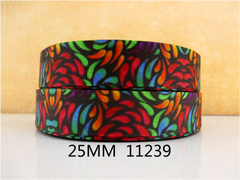 1 Yard 1 inch Kaleidoscope PATTERN 11239  -  Printed Grosgrain Ribbon