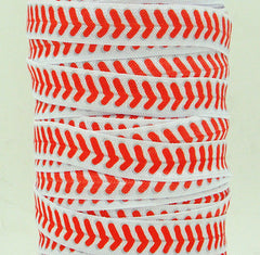 1 Yard -  5/8 inch - Red Baseball Laces on White / Softball - Sports  - Fold Over Elastic FOE
