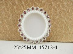 1 Piece -   Rhinestone Resin Cameo -  White - Center is 1 inch circle 15713-1 Cap Cameo