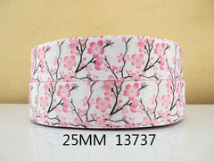 1 Yard 1 inch PINK FLOWERS ON BRANCHES ON WHITE  -  Printed Grosgrain Ribbon