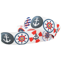 1 yard 1 inch Nautical Red Wheel Navy Anchor Anchors on White  - Printed Grosgrain Ribbon