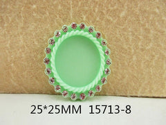 1 Piece -   Rhinestone Resin Cameo - Mint Green - Center is 1 inch circle 15713-8 Cap Cameo