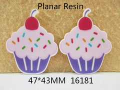 1 Piece -  Cupcake Light Pink and Lavender Resin  16181 - Approx.  1 3/4 inch