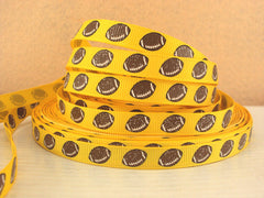 1 Yard 3/8 inch Glitter Footballs / Football on YELLOW (thin) SPORTS Printed Grosgrain Ribbon