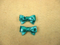 2 Piece -  SMALL Green Sequin Bow Accent - Approx. 1 1/2 inch