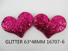 1 Piece  - 63mm - PUFFY GLITTER HEART -  DEEP HOT PINK - Accent - Flat Back Flatback Approx. 2.5 inches - love - hearts