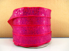 1 Yard 7/8 inch  STUNNING SEQUIN GROSGRAIN - HOT PINK  - SEQUINS -  Grosgrain Ribbon