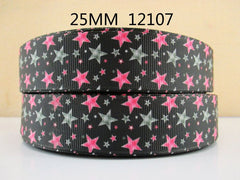 1 Yard 1 inch Pink and Gray Stars on Black  - Style 12107 - Rockstar -  Printed Grosgrain Ribbon