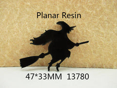 1 Piece -   WITCH ON BROOM  - FLAT RESIN - HALLOWEEN   - Approx. 2  inches