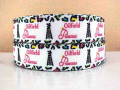 1 Yard 1 inch Oilfield Princess cheetah border Printed Grosgrain Ribbon