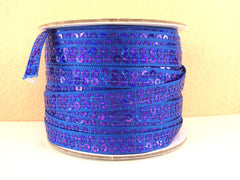 1 Yard 3/8 inch ROYAL BLUE  - SEQUIN GROSGRAIN - SEQUINS -  Grosgrain Ribbon