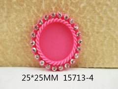 1 Piece -   Rhinestone Resin Cameo -  Pretty Pink - Center is 1 inch circle 15713-4 Cap Cameo