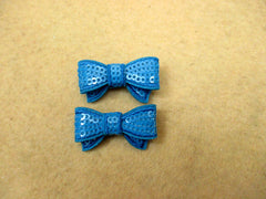 2 Piece -  SMALL Turquoise Aqua Sequin Bow Accent - Approx. 1 1/2 inch