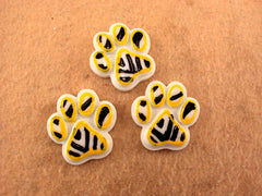 1 Piece - PANTHER PAW PAWS - BLACK YELLOW ZEBRA - Resin  - Approx.  1 inch