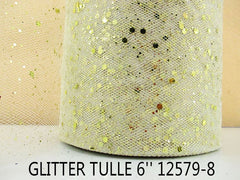 6 INCH WIDTH - GLITTER SPARKLE TULLE - IVORY / GOLD - BY THE YARD