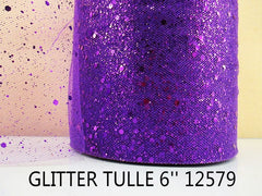 6 INCH WIDTH - GLITTER SPARKLE TULLE - PURPLE - BY THE YARD