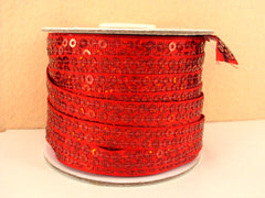 1 Yard 3/8 inch RED  - SEQUIN GROSGRAIN - SEQUINS -  Grosgrain Ribbon