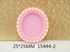 1 Piece  33 mm - 1 inch center  - Round Light Pink w/ Pearl Frame for Resin Center - 13444-2 - Accent - Flat Back Flatback
