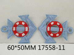 1 Piece - Embroidered Anchor Patch - Pale blue and Red  approx. 2 1/3 inches - resin - accent - center 17558-11