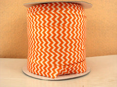 1 Yard -  5/8 inch - ORANGE AND WHITE CHEVRON  - Fold Over Elastic FOE