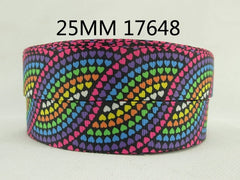 1 Yard 1 inch Colorful Heart Pattern on Black - Valentine's Day - Love Printed Grosgrain Ribbon 17648