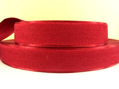 1 Yard - 1 inch RED Velvet-like with satin edge- velvet - reversible- same on both sides Ribbon.