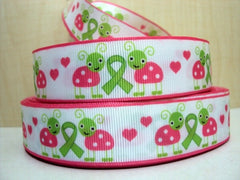 1 Yard 1 inch - Green Ribbon AWARENESS Cute Ladybugs  Pink and Lime Green -     Printed Grosgrain Ribbon
