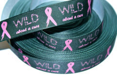 1 Yard 7/8 inch  - Wild about a Cure on Black - Pink Ribbon Cancer Awareness - Printed Grosgrain Ribbon