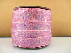 1 Yard 7/8 inch  STUNNING SEQUIN GROSGRAIN - LIGHT PINK - SEQUINS -  Grosgrain Ribbon