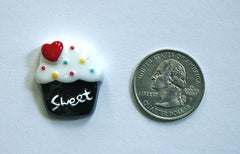 1 Piece -  Cupcake with Red Heart Resin  - Approx.  1 inch