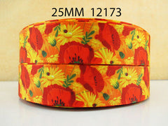 1 Yard 1 inch Red Poppy Flowers and Yellow Daisies - Style  12172 -   Printed Grosgrain Ribbon