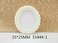 1 Piece  33 mm - 1 inch center  - Ivory w/ Pearl Frame for Resin Center - 13444-1 - Accent - Flat Back Flatback