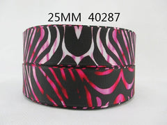 1 Yard 1 inch Black ZEBRA over Tones of Pink 40287  -  Printed Grosgrain Ribbon