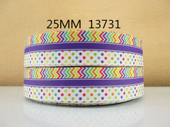 1 Yard 1 inch CHEVRON AND POLKA DOTS WITH PURPLE HORIZONTAL STRIPE -  Printed Grosgrain Ribbon