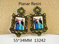 1 Piece -  55mm -  Frozen Elsa Anna and other on Frame 13242 - Flat Resin
