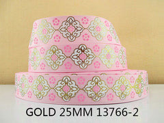 1 Yard 1 inch LIGHT PINK WHITE AND GOLD DESIGN STYLE 13766-2 -  Printed Grosgrain Ribbon